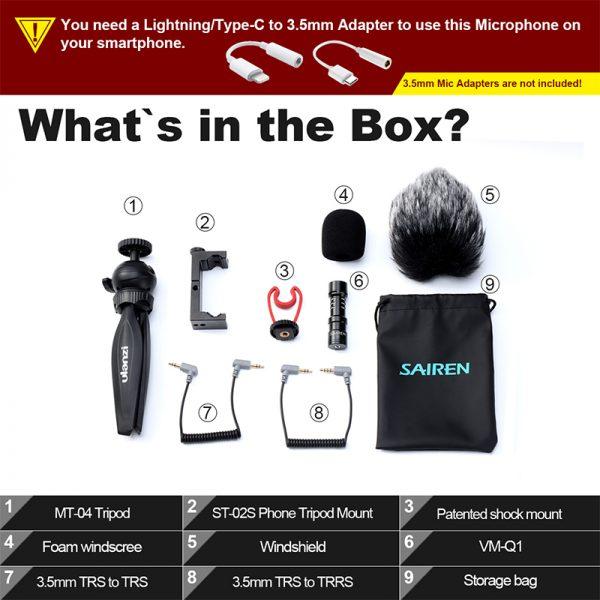 ulanzi Vlog Kit with Tabletop Tripod Mobile Holder Microphone