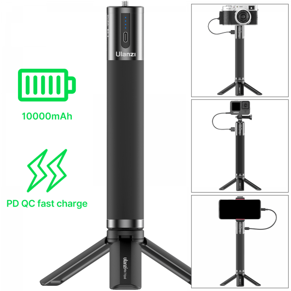 Ulanzi BG-3 10000mAh Battery Power Charger Hand Grip with Mini Tripod 18W PD QC Fast Charge for Smartphone DSLR GoPro 9/8/7/6/5